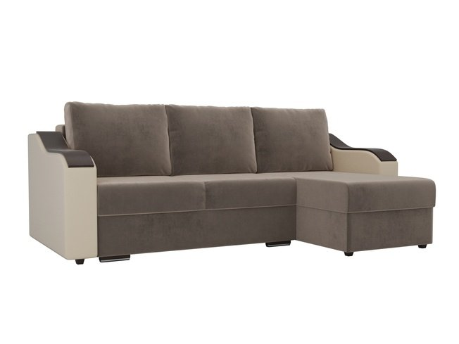 Угловой диван-кровать правый Монако, коричневый/бежевый/велюр/экокожа фото