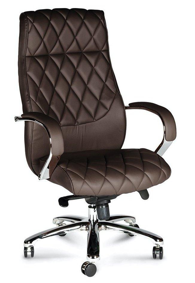 Кресло офисное Бонд, brown/сталь/хром /темно-коричневая экокожа фото