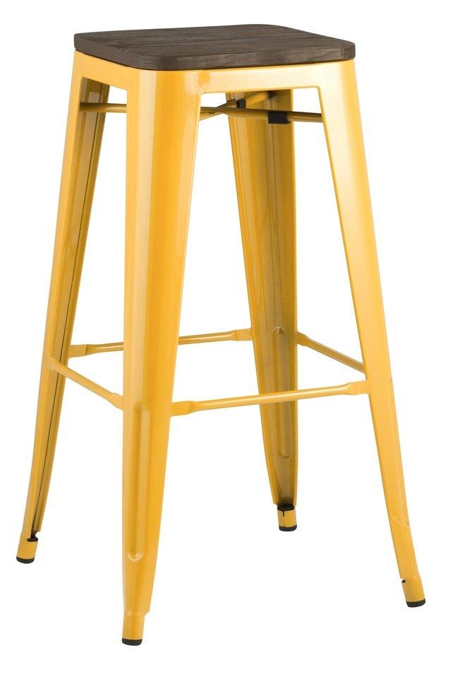 Стул барный TOLIX, желтый глянцевый/темное дерево фото