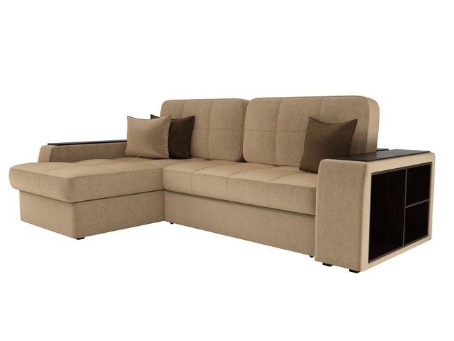 Угловой диван-кровать левый Брюссель, бежевый/микровельвет фото