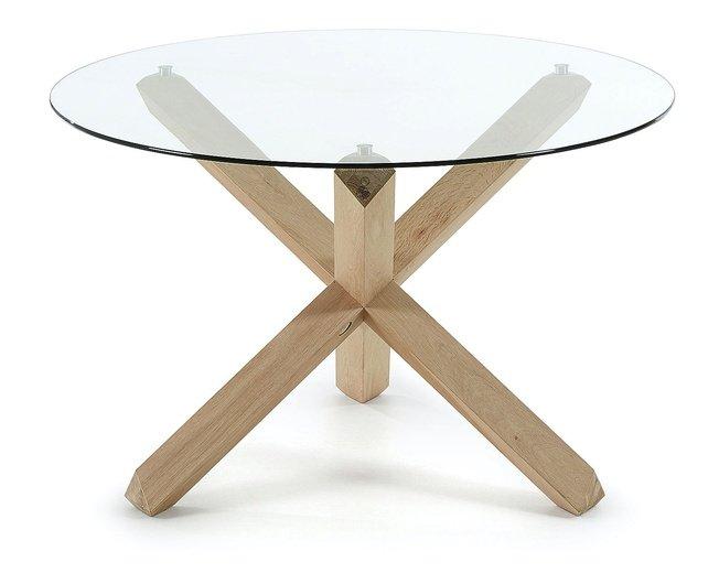 Стол обеденный круглый ARENDAL D120, бежевый/стекло фото