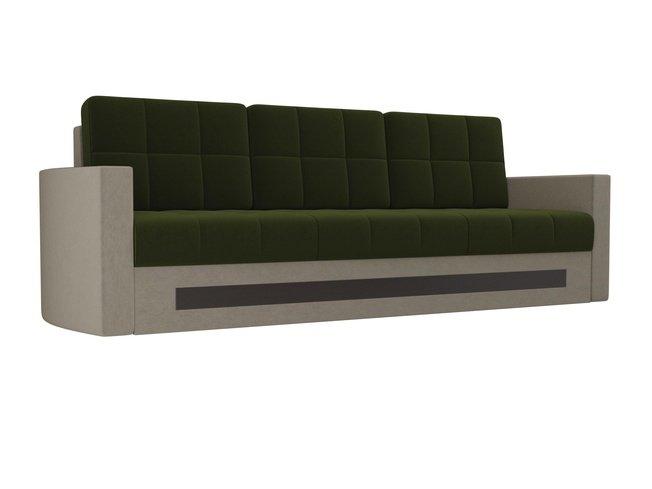Диван-кровать Белла, зеленый/бежевый/микровельвет фото