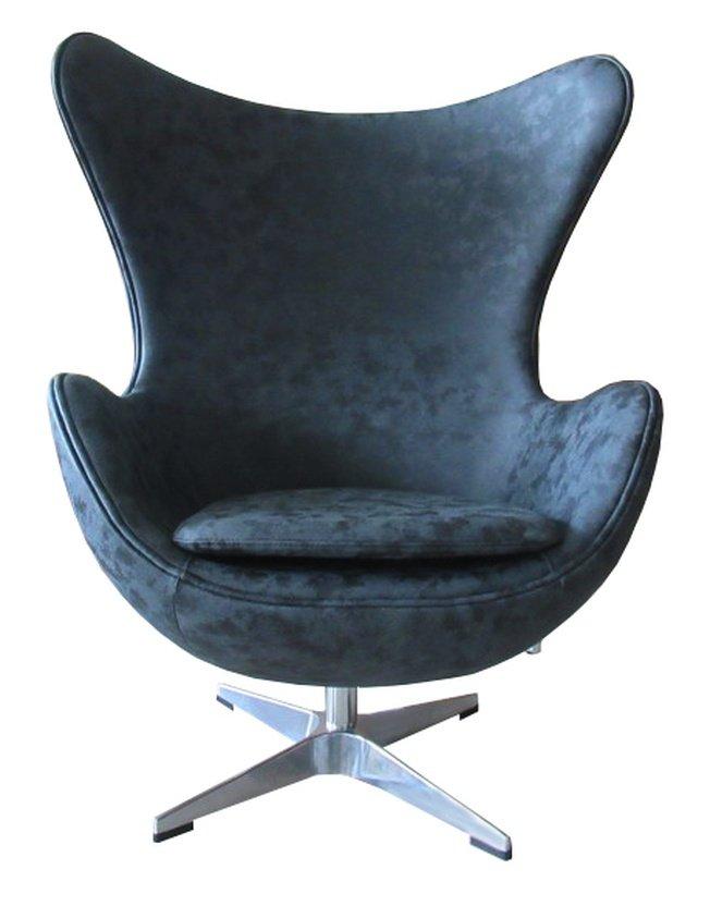 Кресло EGG CHAIR, черный матовый с эффектом состаренная кожа фото