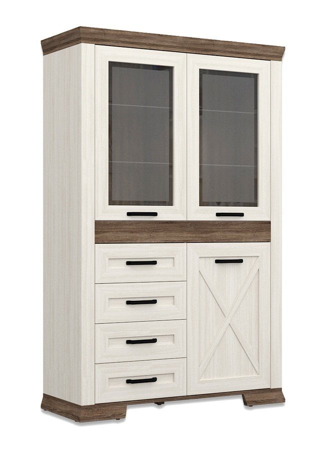 Шкаф-витрина с ящиками Марсель REG2W1D4S фото