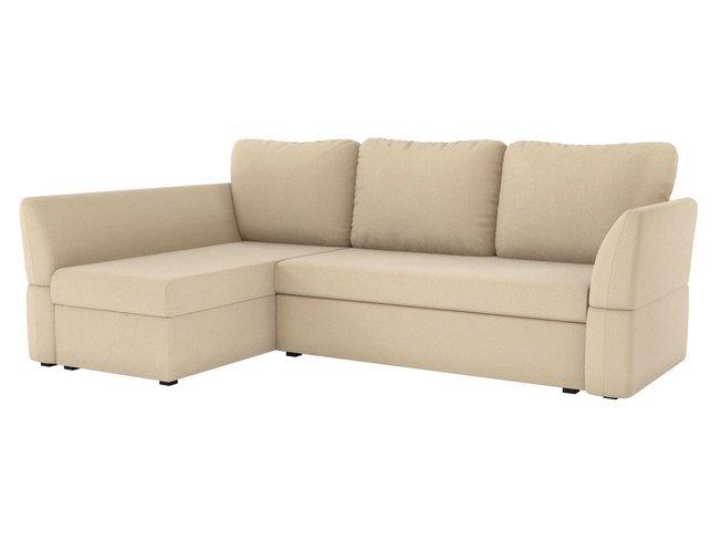 Угловой диван-кровать левый Гесен, бежевый/рогожка фото