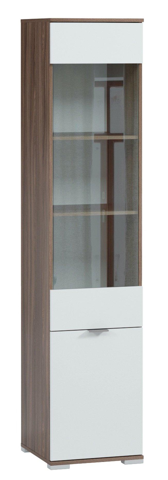 Шкаф-витрина Стелла, шимо темный/белый снег фото