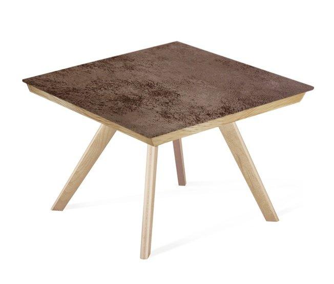 Журнальный стол SHT-S39/ТT8 60/60, дуб/керамика прозрачный лак/коричневая сепия фото