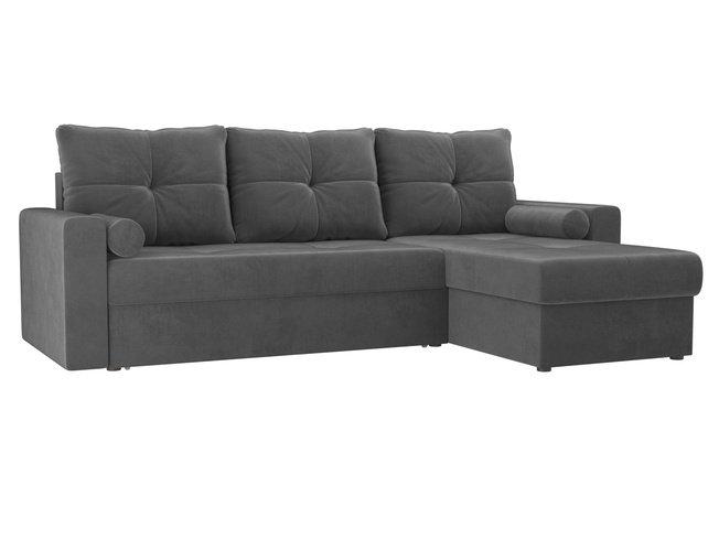 Угловой диван-кровать правый Верона, серый/велюр фото