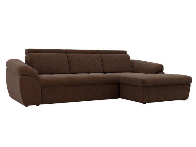 Угловой диван-кровать правый Мисандра, коричневый/рогожка фото