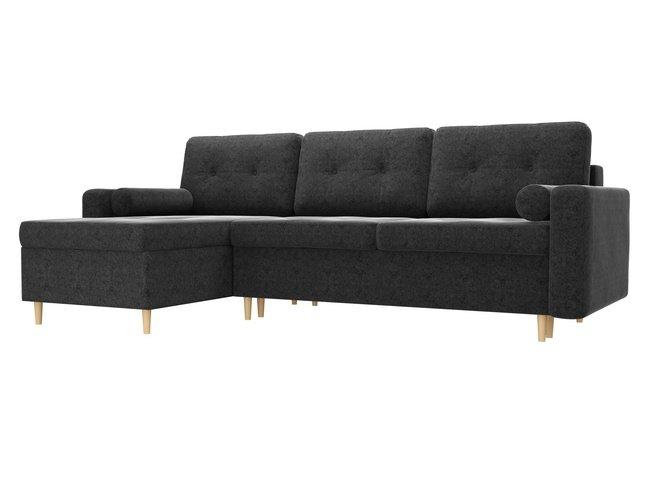 Угловой диван-кровать левый Белфаст, черный/микровельвет фото