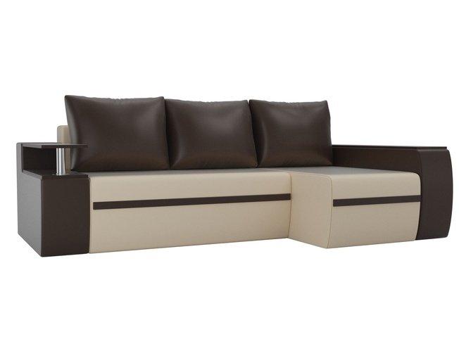 Угловой диван-кровать правый Майами, бежевый/коричневый/коричневый/экокожа фото