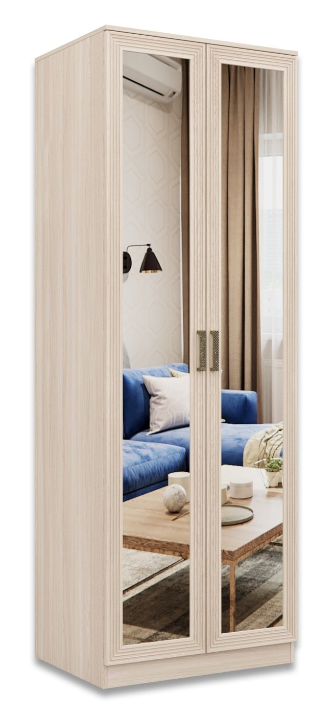 Шкаф 2-дверный для одежды Орион с зеркалом, шимо светлый/лен фото