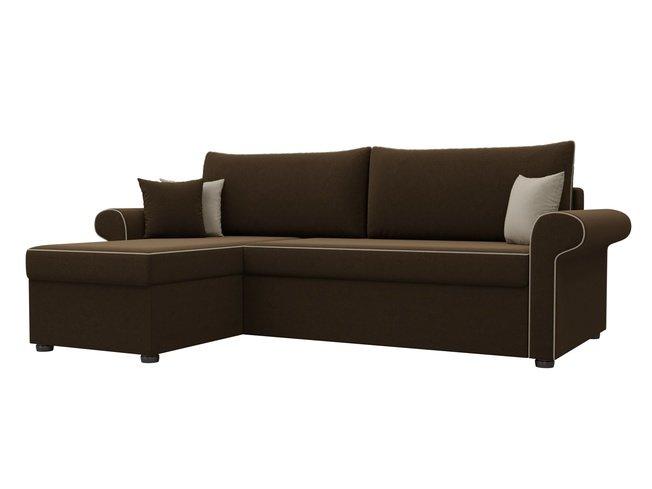 Угловой диван-кровать левый Милфорд, коричневый/микровельвет фото