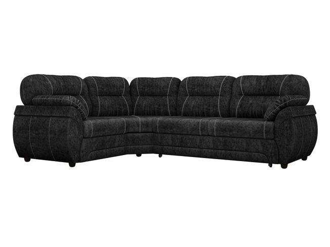 Угловой диван-кровать левый Бруклин, черный/велюр фото