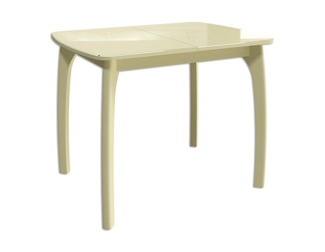 Стол обеденный раздвижной Бабочка 15, бежевый/бежевое стекло фото