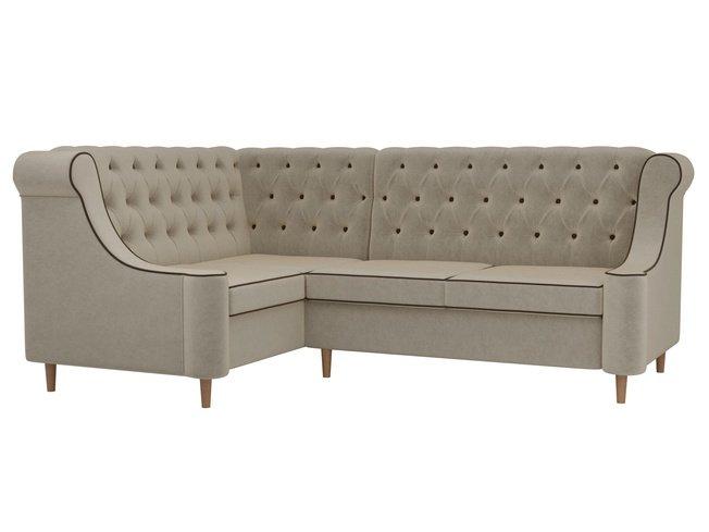 Угловой диван левый Бронкс, бежевый/микровельвет фото