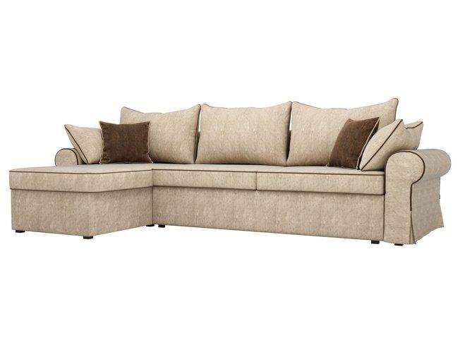 Угловой диван-кровать левый Элис, бежевый/велюр фото