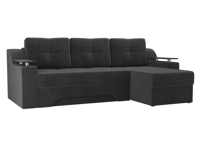 Угловой диван-кровать правый Сенатор, серый/велюр фото