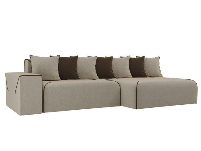 Угловой диван-кровать правый Кёльн, бежевый/коричневый/микровельвет фото