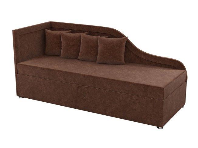 Детский диван левый Дюна, коричневый/микровельвет фото