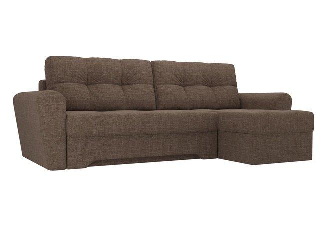 Угловой диван-кровать правый Амстердам, коричневый/рогожка фото