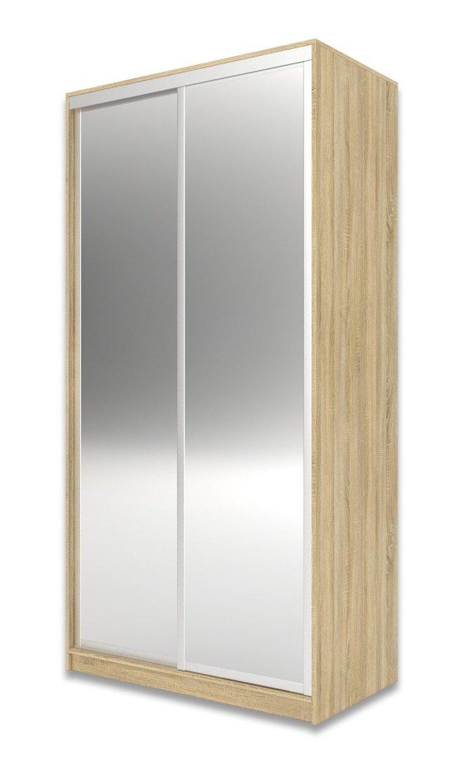 Шкаф-купе Юпитер 2-дверный зеркальный 1100 (глубина 450, высота 2200), дуб сонома фото