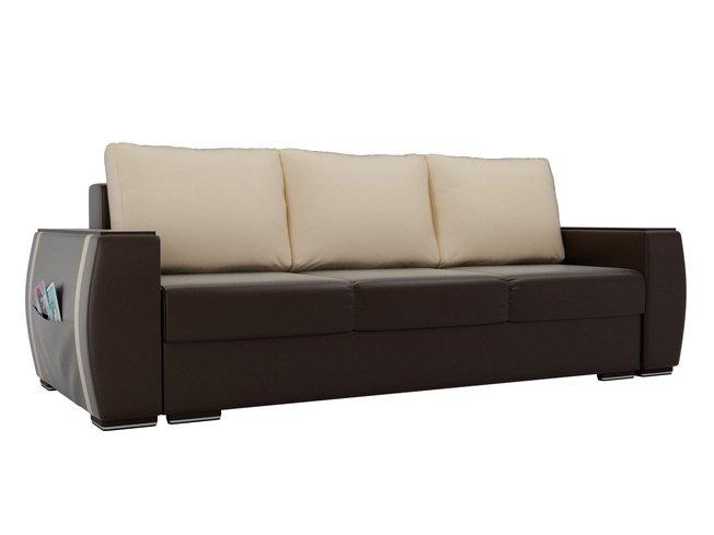 Диван-кровать Брион, коричневый/бежевый/экокожа фото