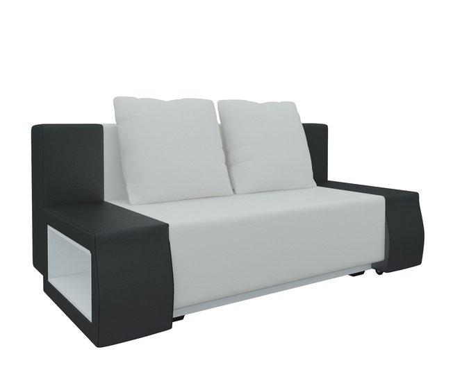 Диван-кровать Шарль люкс, белый/черный/экокожа фото