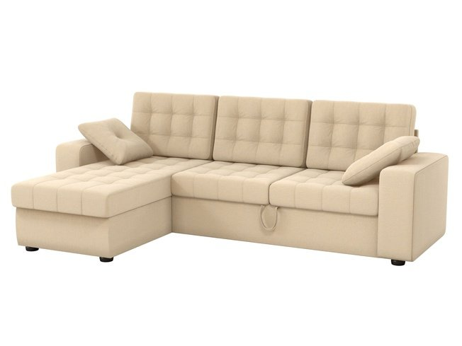 Угловой диван-кровать левый Камелот, бежевый/рогожка фото