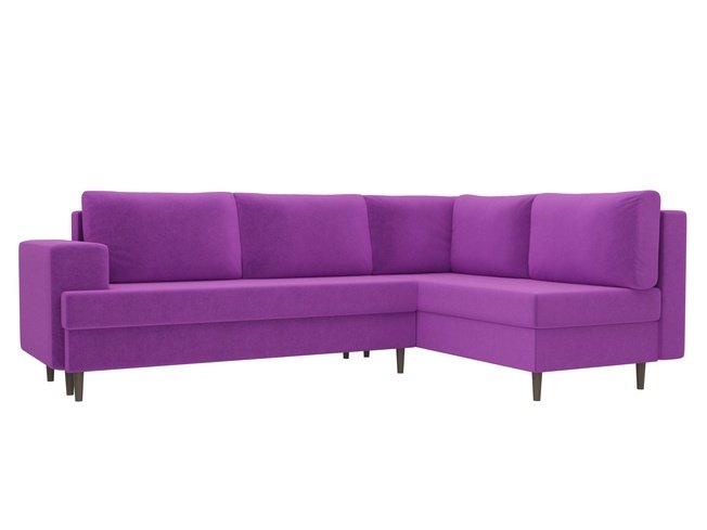 Угловой диван-кровать правый Сильвана, фиолетовый/микровельвет фото