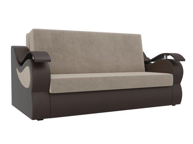 Диван-кровать аккордеон Меркурий, бежевый/коричневый/велюр/экокожа фото