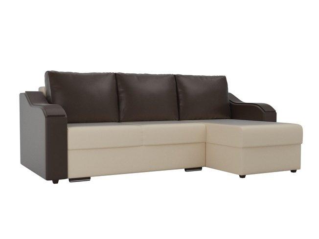 Угловой диван-кровать правый Монако, бежевый/коричневый/коричневый/экокожа фото