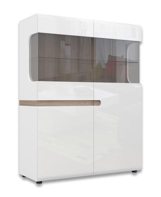 Шкаф-витрина 2-дверный Линате 3D-1S /TYP33, белый глянец фото