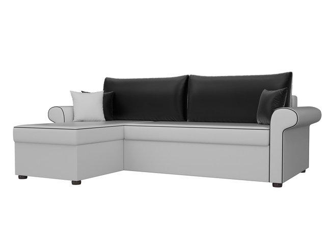 Угловой диван-кровать левый Милфорд, белый/черный/экокожа фото