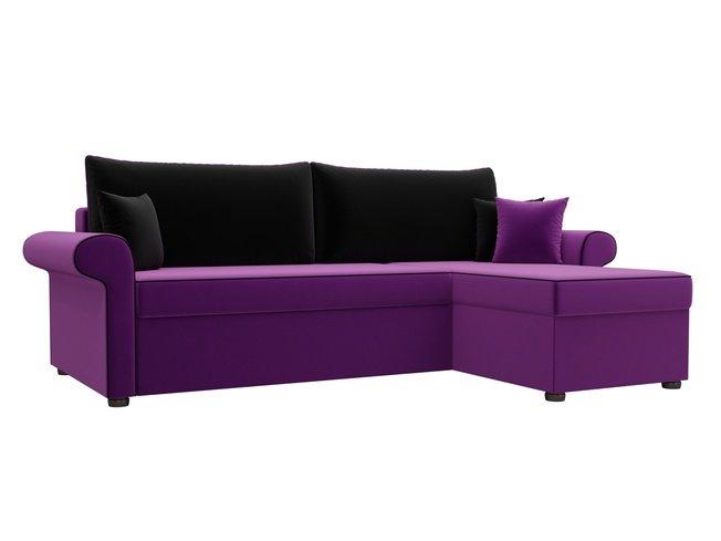 Угловой диван-кровать правый Милфорд, фиолетовый/черный/микровельвет фото