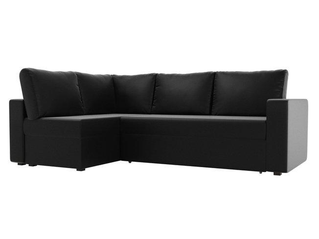 Угловой диван-кровать левый Оливер, черный/экокожа фото