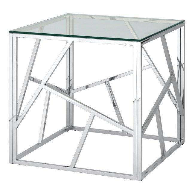 Журнальный стол Арт Деко 55x55, серебро фото