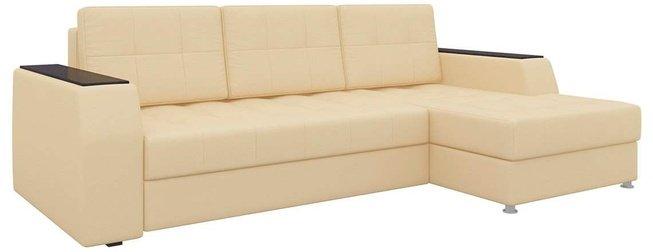 Угловой диван-кровать правый Эмир Б/С, бежевый/экокожа фото