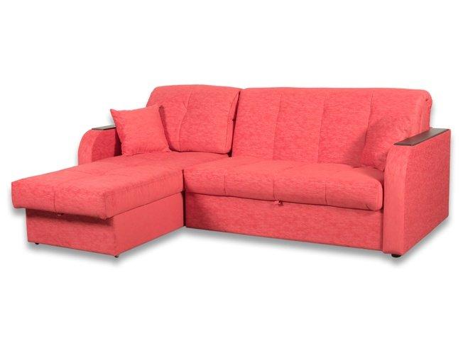 МК Ева / Угловой диван-аккордеон Амиго с ящиком 1600 БНП, красный велюр