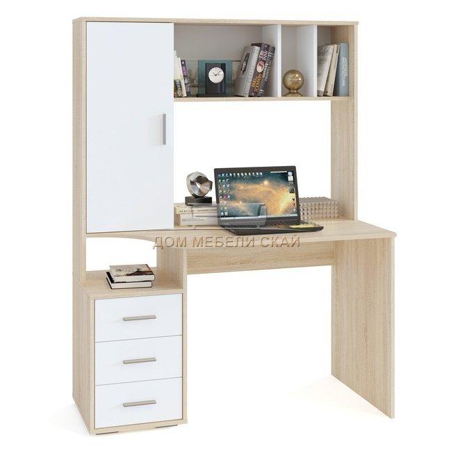 КСТ-16 Стол компьютерный, дуб сонома/белый - купить за 7930 руб. в Москве (арт. B10002766) | Дом мебели Скай