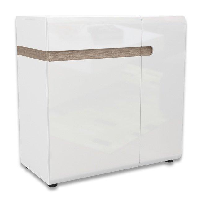 Комод 2-дверный с ящиком Линате 2D-1S /TYP34, белый глянец фото