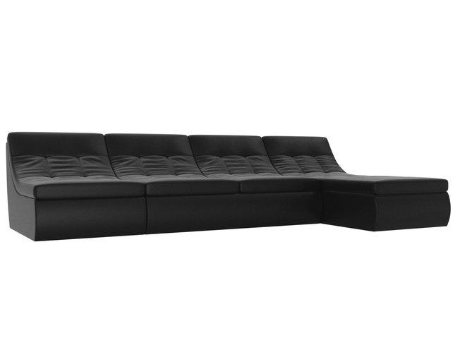 Угловой модульный диван-кровать правый Холидей, черный/экокожа фото