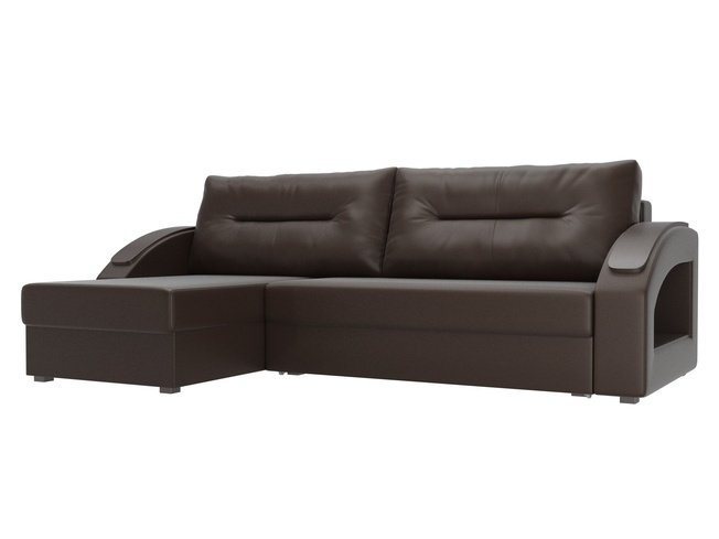 Угловой диван-кровать левый Канзас, коричневый/экокожа фото