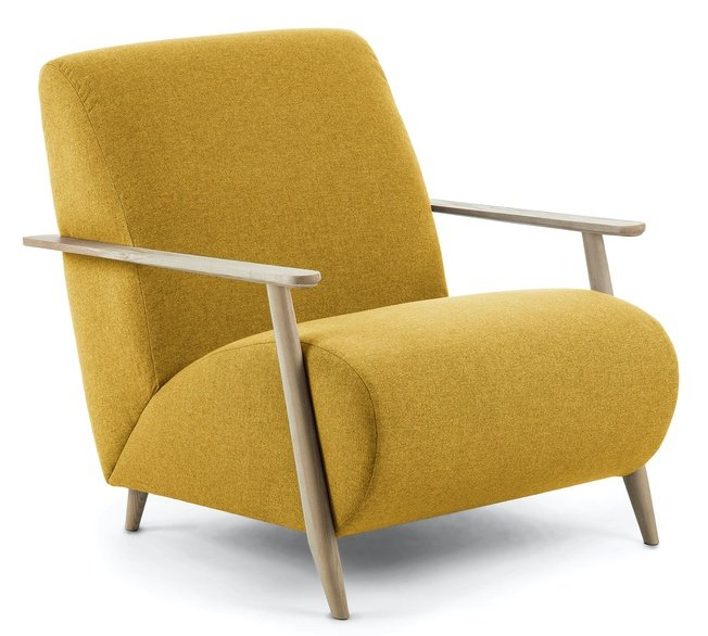 Кресло Marthan, горчичное подлокотники светлые фото