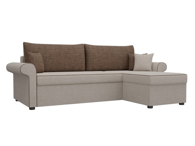 Угловой диван-кровать правый Милфорд, бежевый/коричневый/рогожка фото