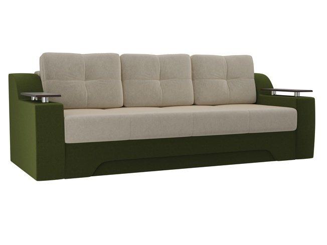 Диван-кровать Сенатор, бежевый/зеленый/микровельвет фото