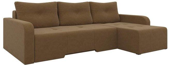 Угловой диван-кровать правый Манхеттен, коричневый/микровельвет фото