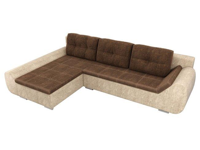 Угловой диван-кровать левый Анталина, коричневый/бежевый/велюр фото