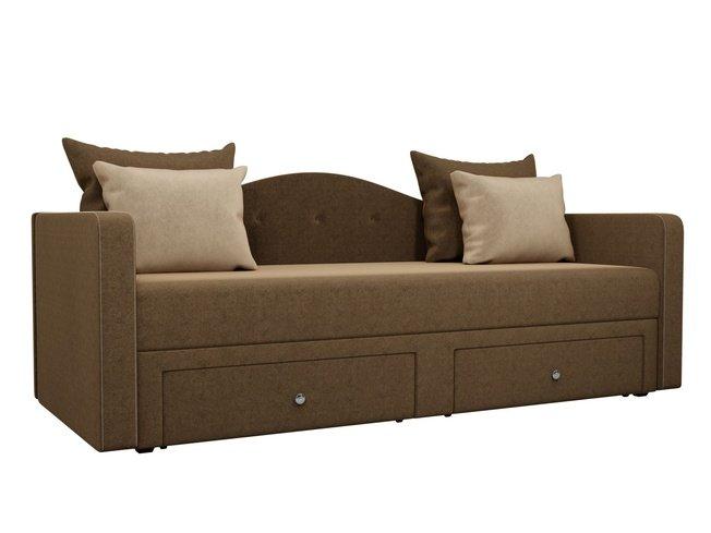Детский диван Дориан, коричневый/бежевый/микровельвет фото