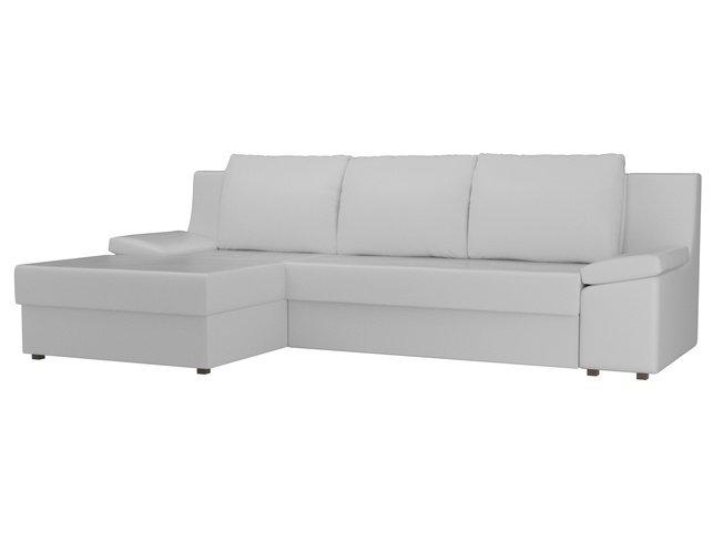 Угловой диван-кровать левый Челси, белый/экокожа фото
